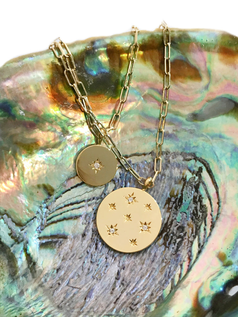 CZ Star Medallion Layered Necklace | Gold Plated Chain | Light Years