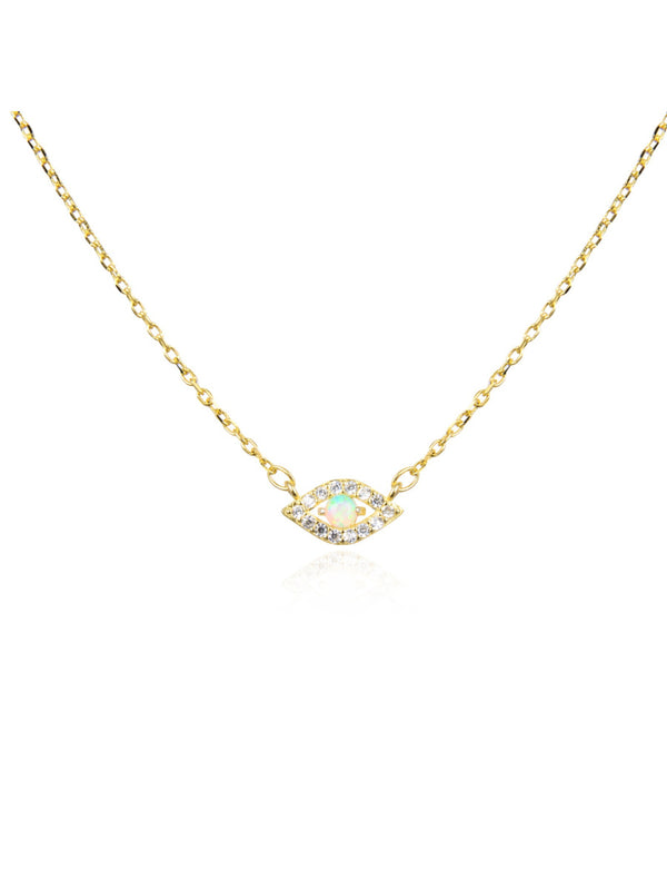 Opal & CZ Eye Necklace | Gold Vermeil Sterling Silver Chain | Light Years