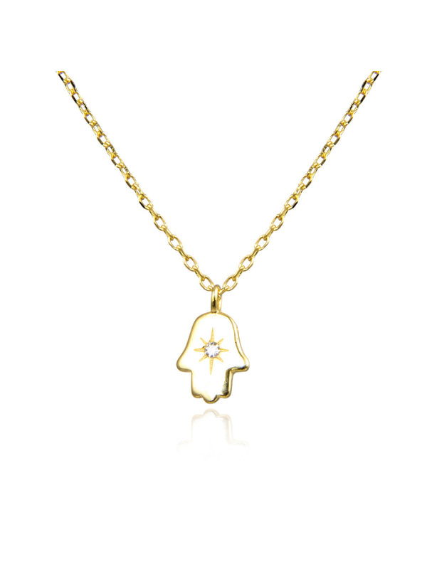 Etched Hand & CZ Necklace | Sterling Silver Gold Vermeil | Light Years