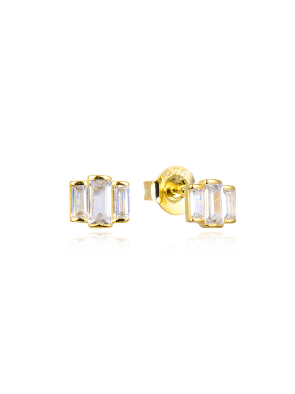 Triple Baguette CZ Posts | Sterling Silver Gold Vermeil | Light Years