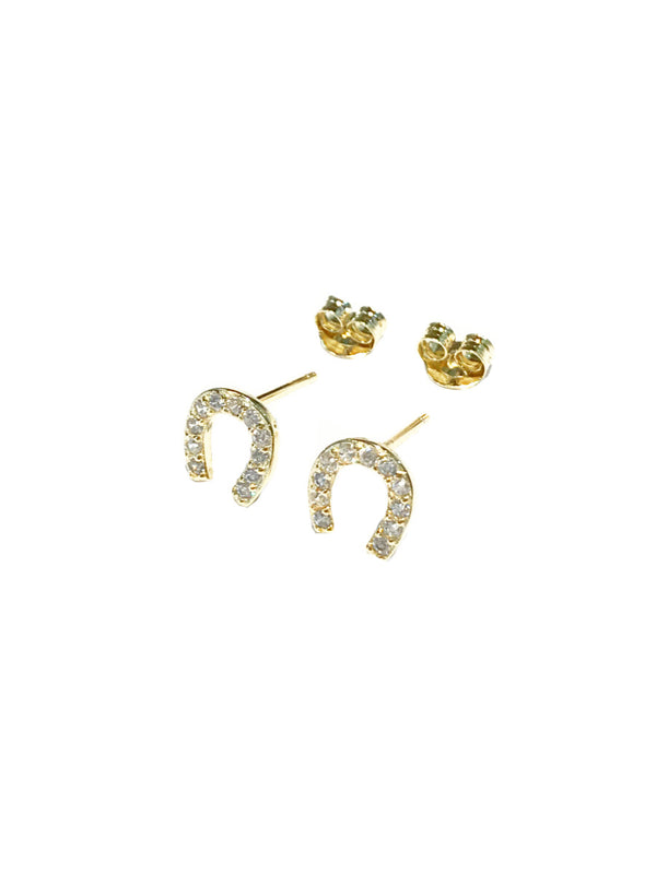 CZ Horseshoe Posts | Gold Vermeil Studs Earrings | Light Years Jewelry