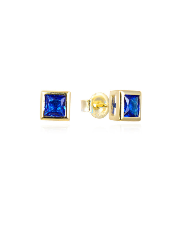 Bezel Set CZ Square Posts | Gold Vermeil Studs Earrings | Light Years