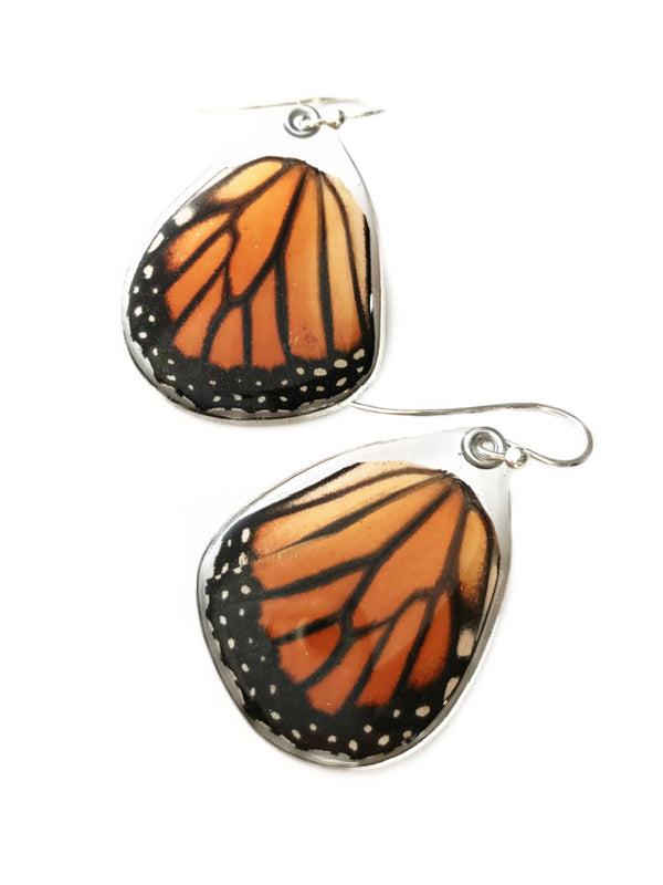 Monarch Butterfly Wing Dangles | Sterling Silver Earrings | Light Years