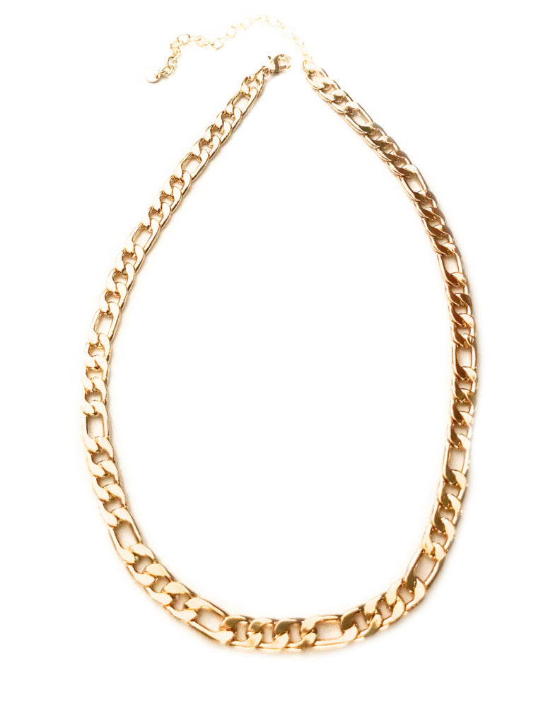 Wide Figaro Chain Necklace | Gold Silver Plated | Light Years Jewelry
