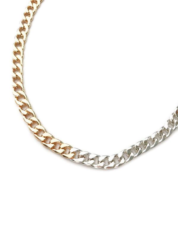 Two Tone Linked Chain Necklace | Gold Plated Curb Paperclip | Light Years