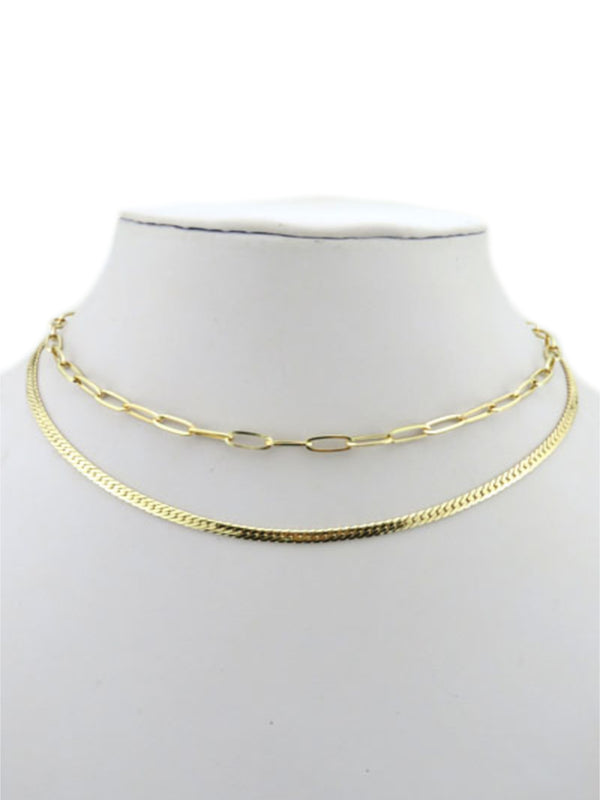 2 Layer Chain Necklace | Herringbone Paperclip Gold Plated | Light Years