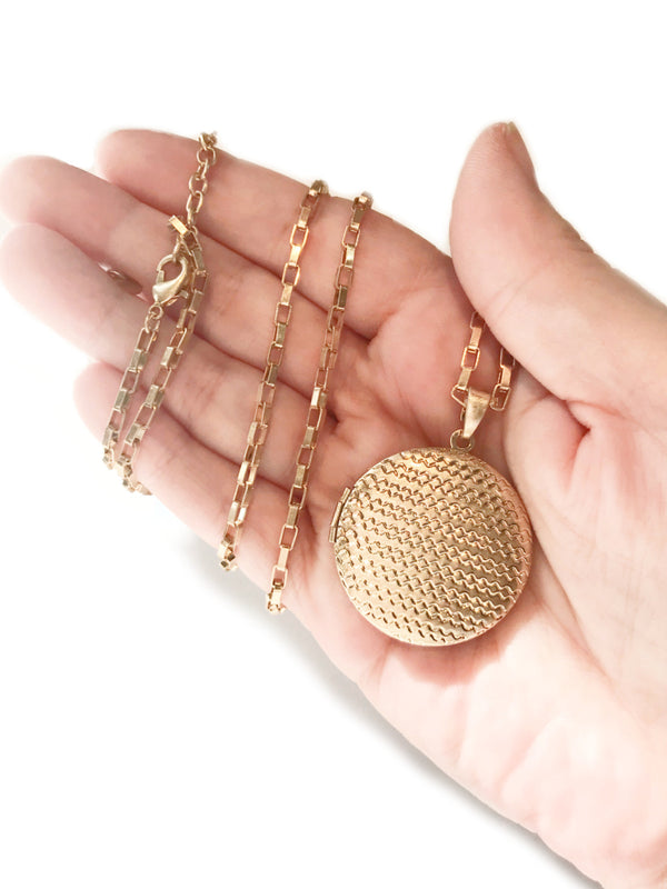 Long Textured Locket Necklace | Gold Plated Chain Pendant | Light Years
