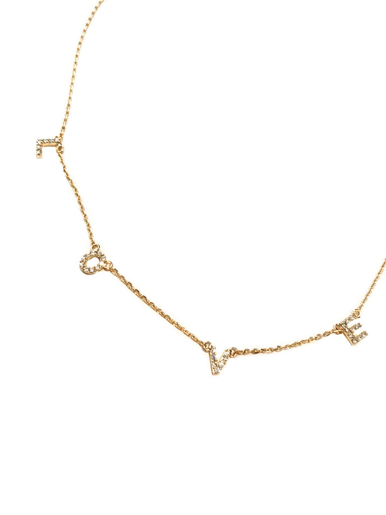 Spaced CZ  Love Word Necklace | Gold Plated Chain | Light Years Jewelry