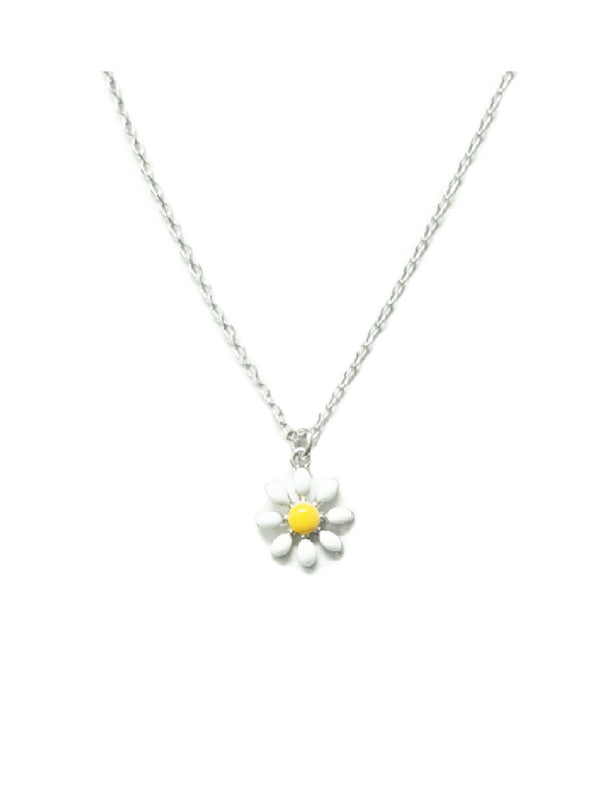 Enamel Daisy Necklace | Silver Plated Chain Pendant | Light Years Jewelry