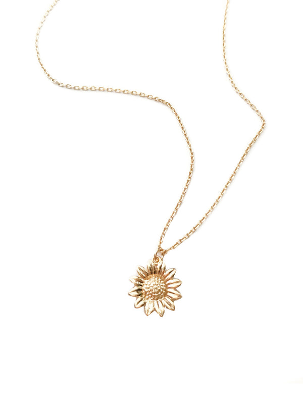 Sunflower Necklace | Gold Plated Flower Pendant Chain | Light Years