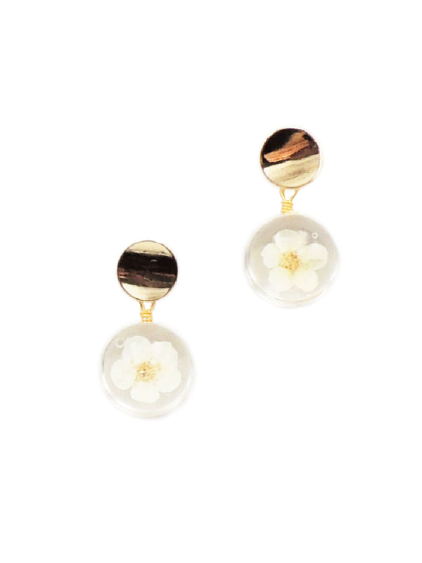 Pressed Flower Post Dangles | Gold Acrylic Studs Earrings | Light Years