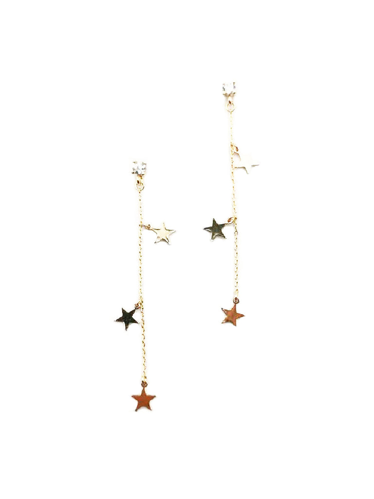 CZ Post Chain Cascade Dangles | Gold Plated Posts Earrings | Light Years