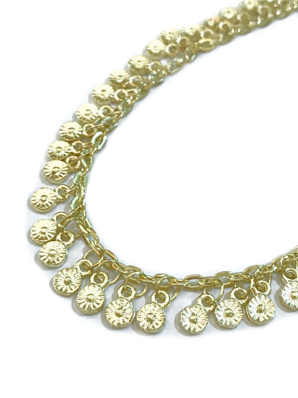 Mini Flower Gold Coin Fashion Anklet | Light Years Jewelry