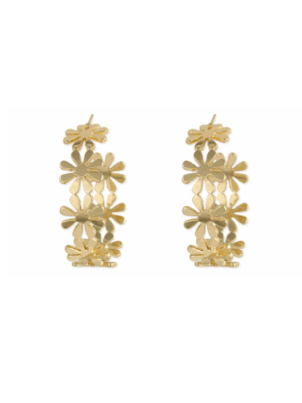Daisy Flower Hoops | Gold Plated Studs Earrings | Light Years Jewelry