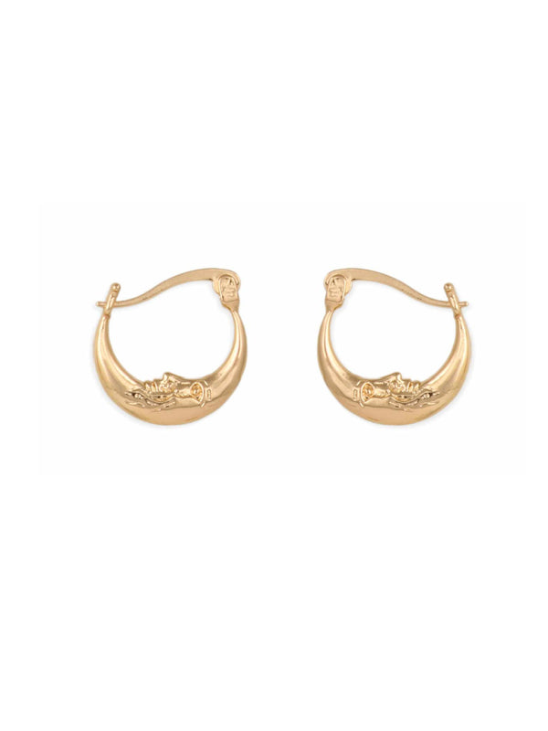 Crescent Moon Pincatch Hoops | Gold Fashion Earrings | Light Years