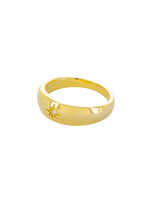 Thick Band with CZ Star | Gold Plated Ring Size 6 7 8 | Light Years