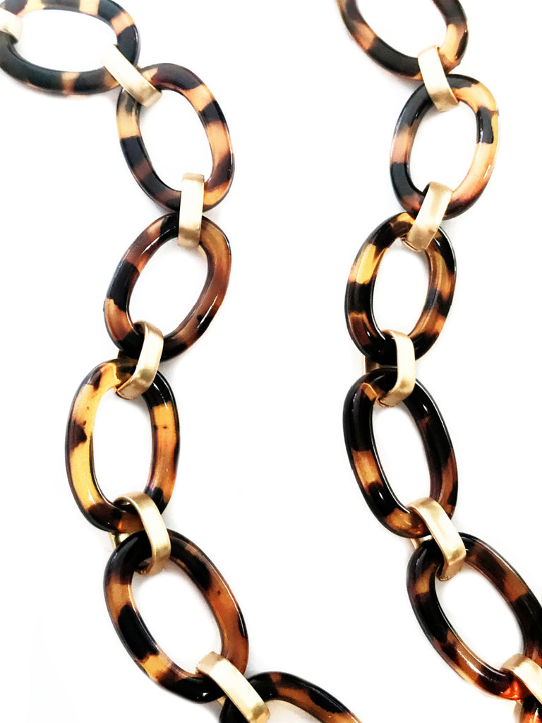 Tortoiseshell Gold Link Chain Statement Necklace | Light Years Jewelry