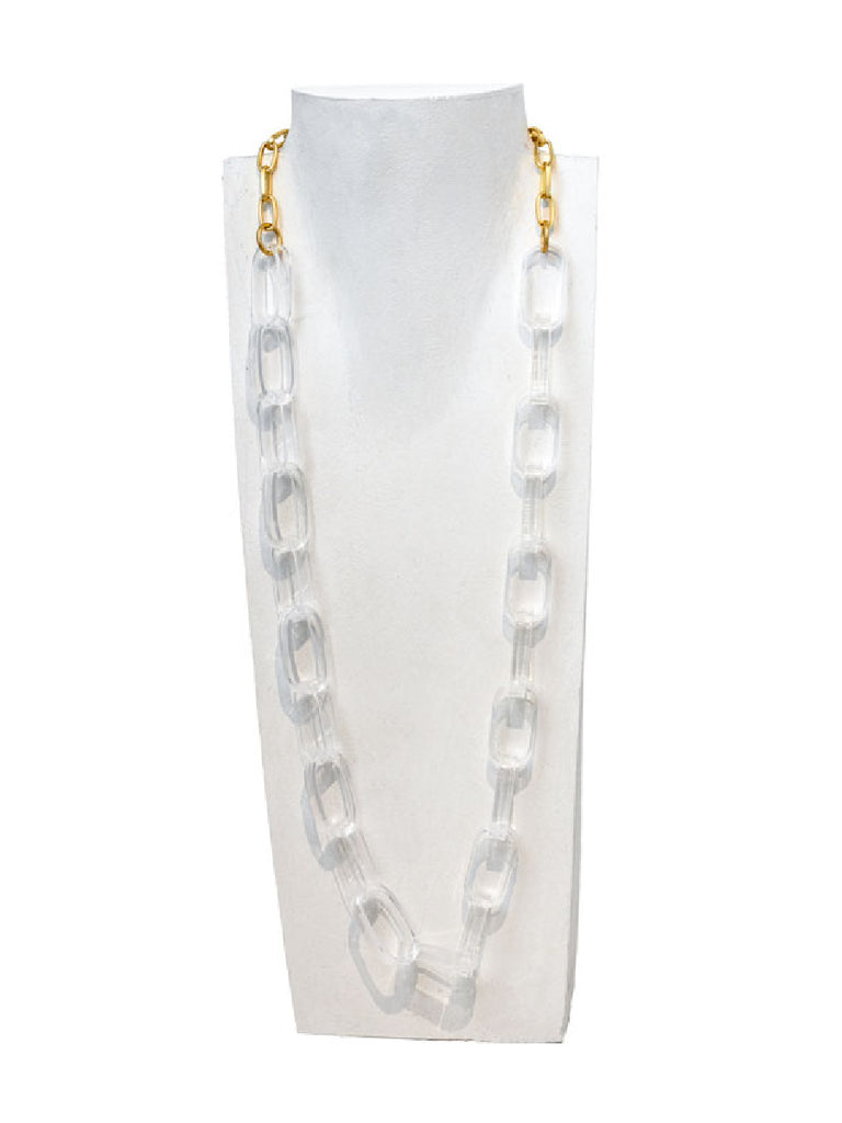 Long Clear Acrylic Gold Chain Statement Necklace | Light Years Jewelry