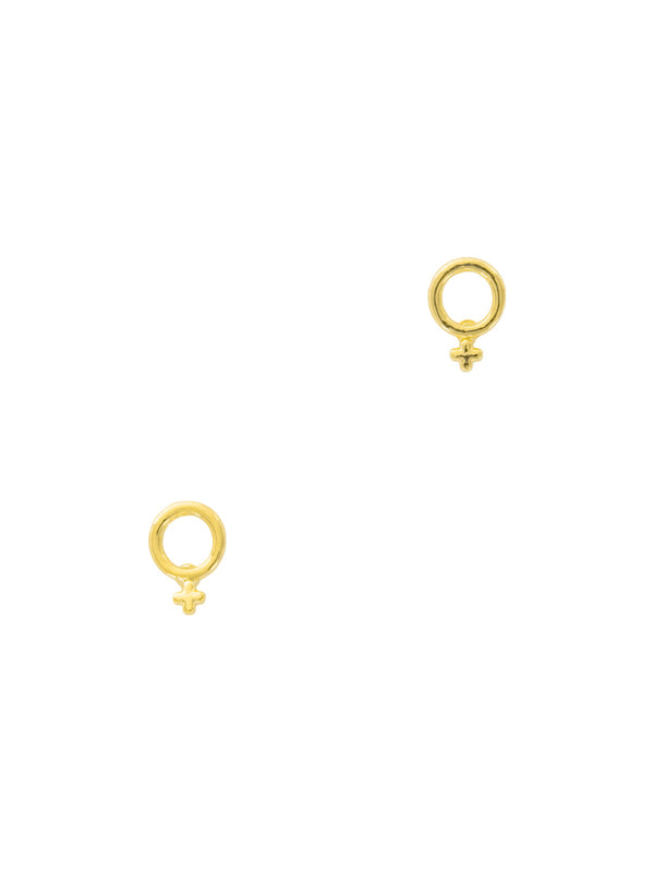Female Woman Power Symbol Posts | Feminist Gold Plated Studs Earrings | Light Years