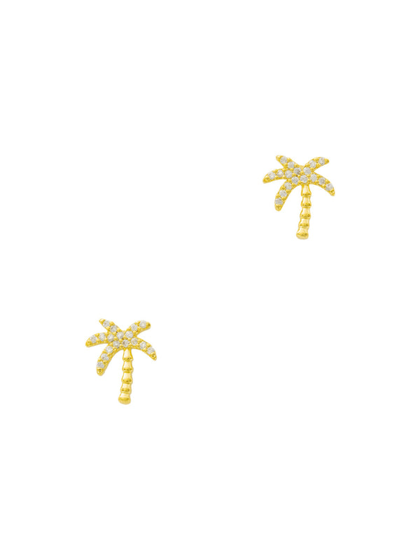 CZ Palm Tree Posts | Gold Plated Studs Earrings | Light Years Jewelry