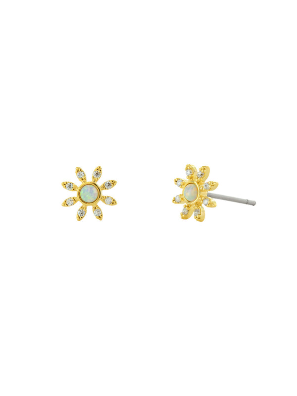 CZ Opal Center Flower Posts | Gold Plated Studs Earrings | Light Years