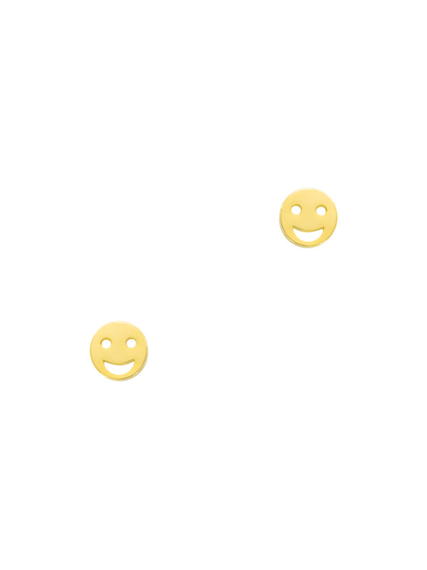 Smiley Face Posts | Gold Plated Studs Earrings | Light Years Jewelry
