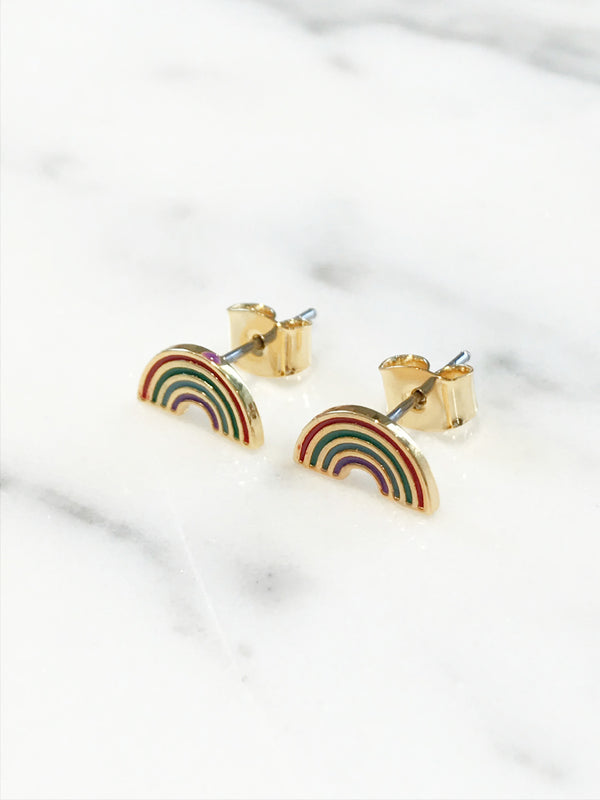 Enamel Rainbow Posts | Gold Plated Studs Earrings | Light Years Jewelry