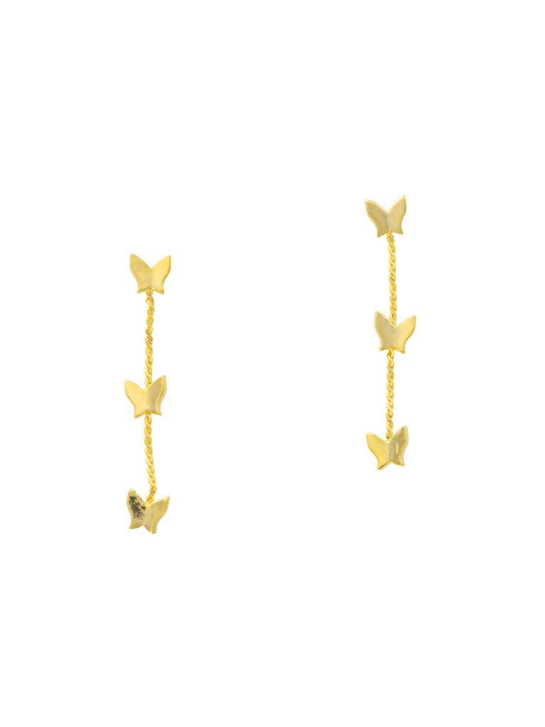 Triple Butterfly Chain Posts | Gold Plated Studs Earrings | Light Years