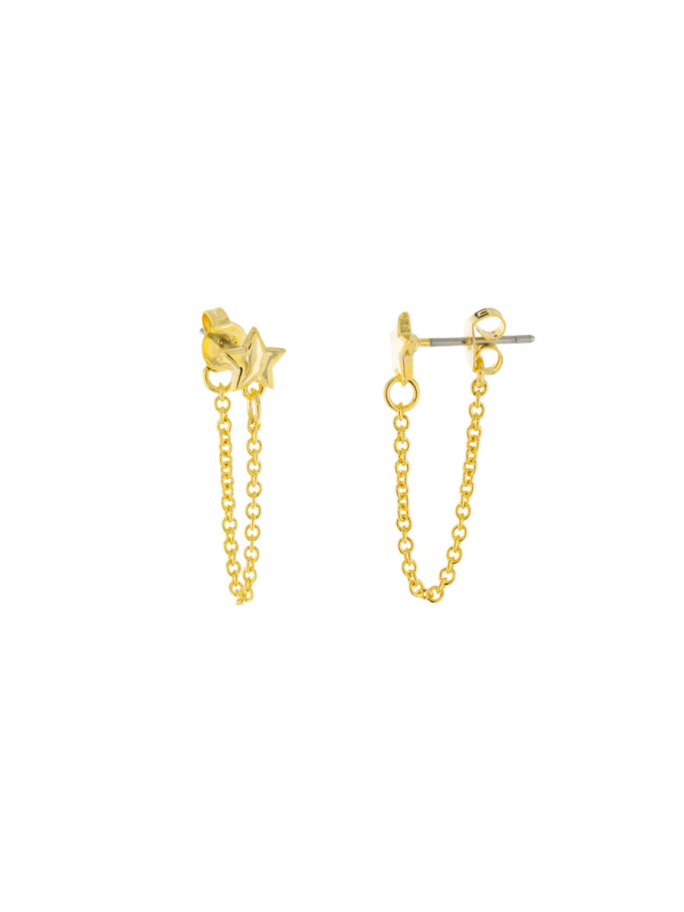Star Chain Back Posts | Gold Plated Studs Earrings | Light Years Jewelry