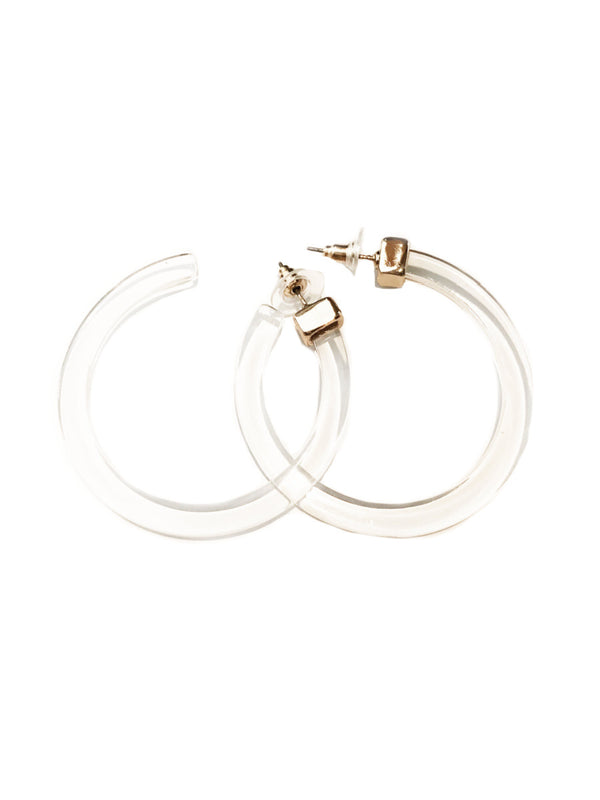 Clear Acrylic Hoops | Gold Plated Posts Earrings | Light Years Jewelry