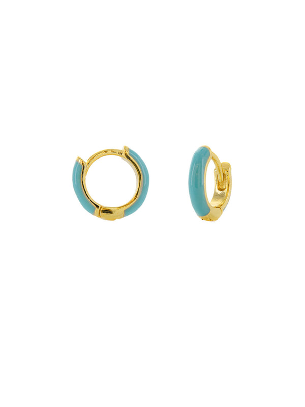 Blue White Enamel Huggie Hoops | Gold Plated Brass Earrings | Light Years