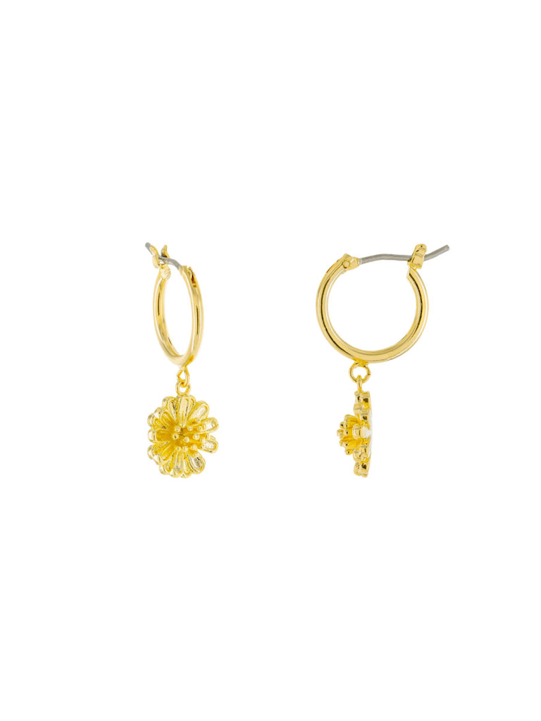 Blooming Flower Charm Hoops | Gold Plated Earrings | Light Years Jewelry