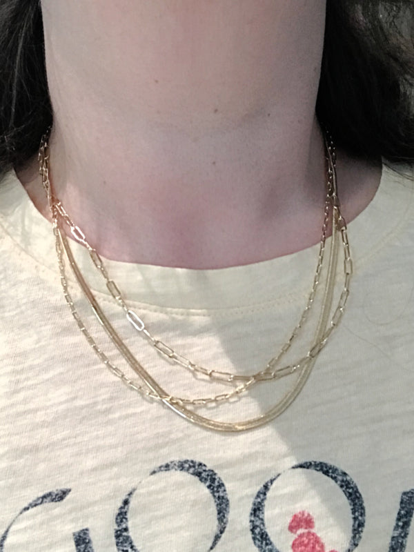 Triple Layered Chain Necklace | Gold Trendy Fashion Choker | Light Years