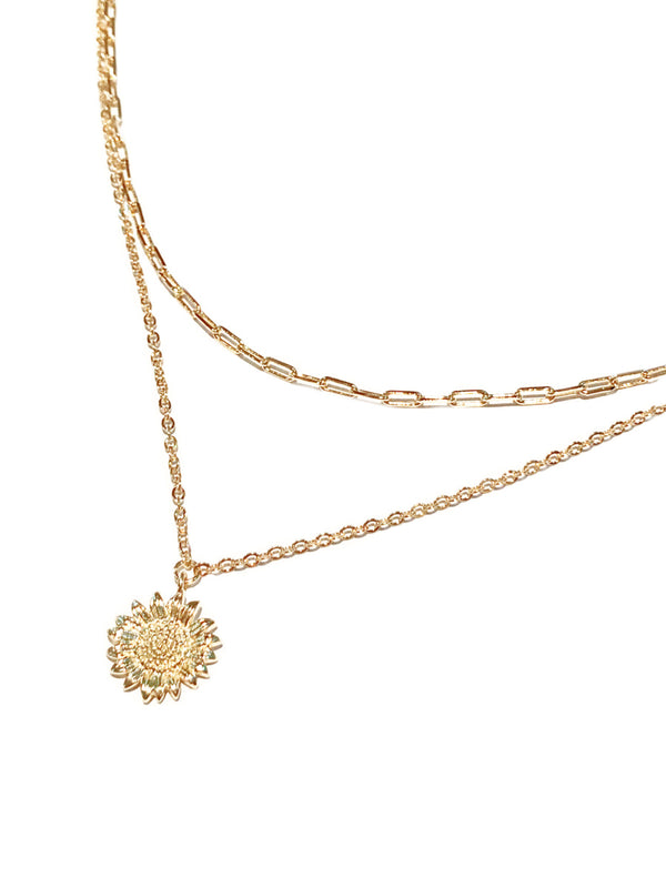 Layered Chain & Sunflower Necklace | Gold Fashion Chain | Light Years