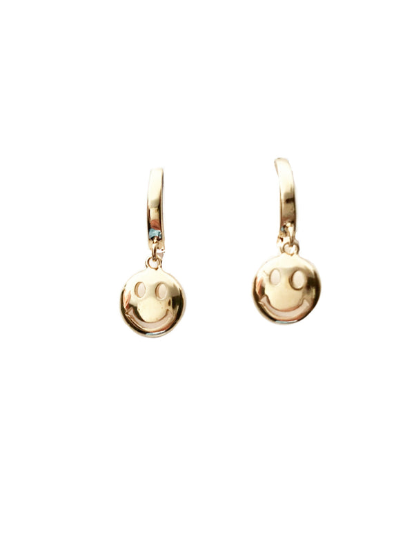 Smiley Face Huggie Hoops | Gold Fashion 90s Earrings | Light Years