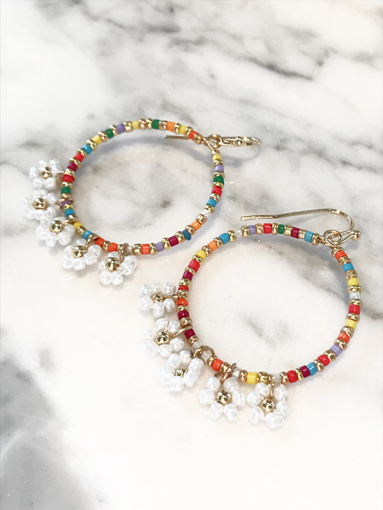 Beaded Daisy Dangles | Gold Chandelier Statement Earrings | Light Years