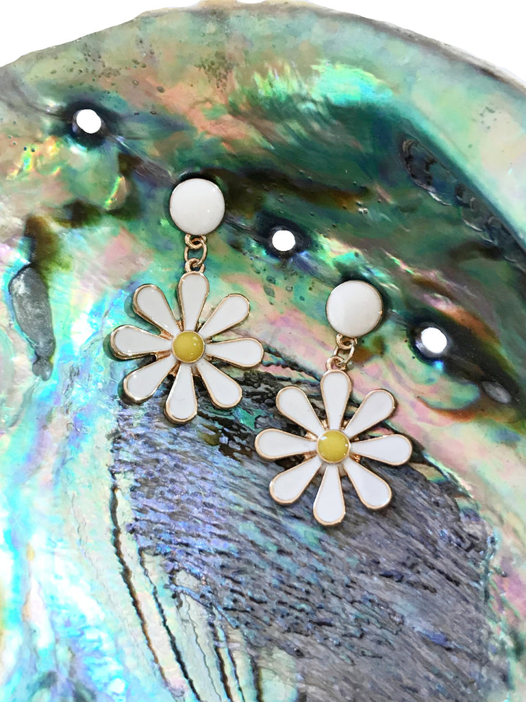Enamel Daisy Drop Posts | Gold Plated Dangle Earrings | Light Years