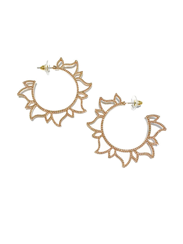 Textured Flared Sun Hoops | Gold Fashion Earrings | Light Years Jewelry