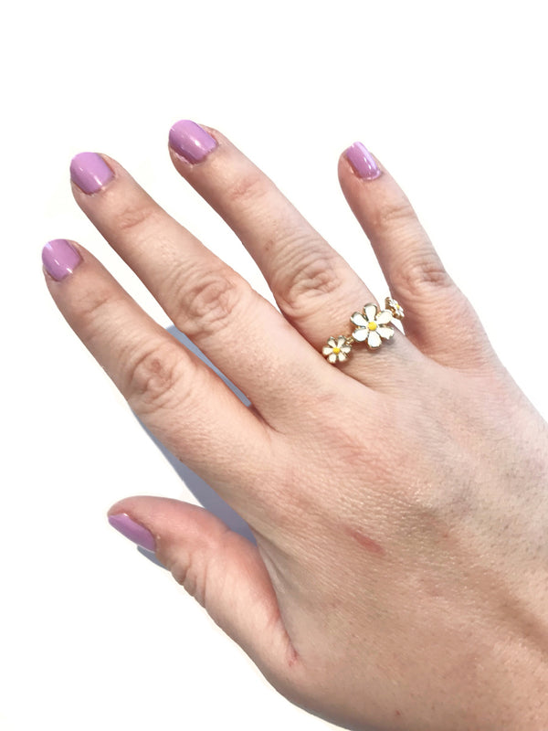 Triple Daisy Enamel Ring | Size 7 Gold Plated | Light Years Jewelry