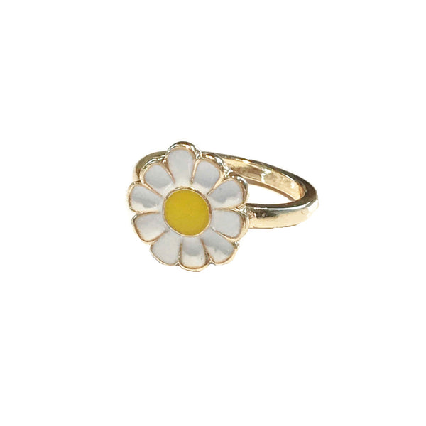 Enamel Daisy Flower Ring | Size 7 Gold Plated Fashion | Light Years