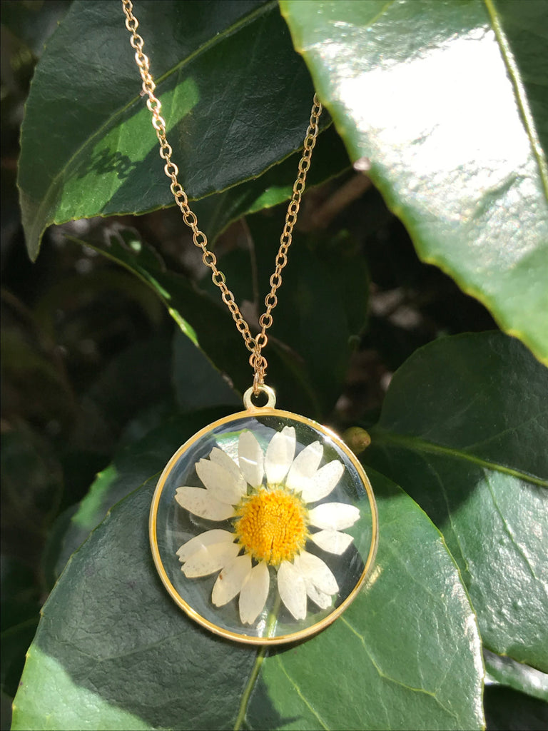 Pressed Daisy Necklace | Gold Plated Pendant Chain | Light Years Jewelry