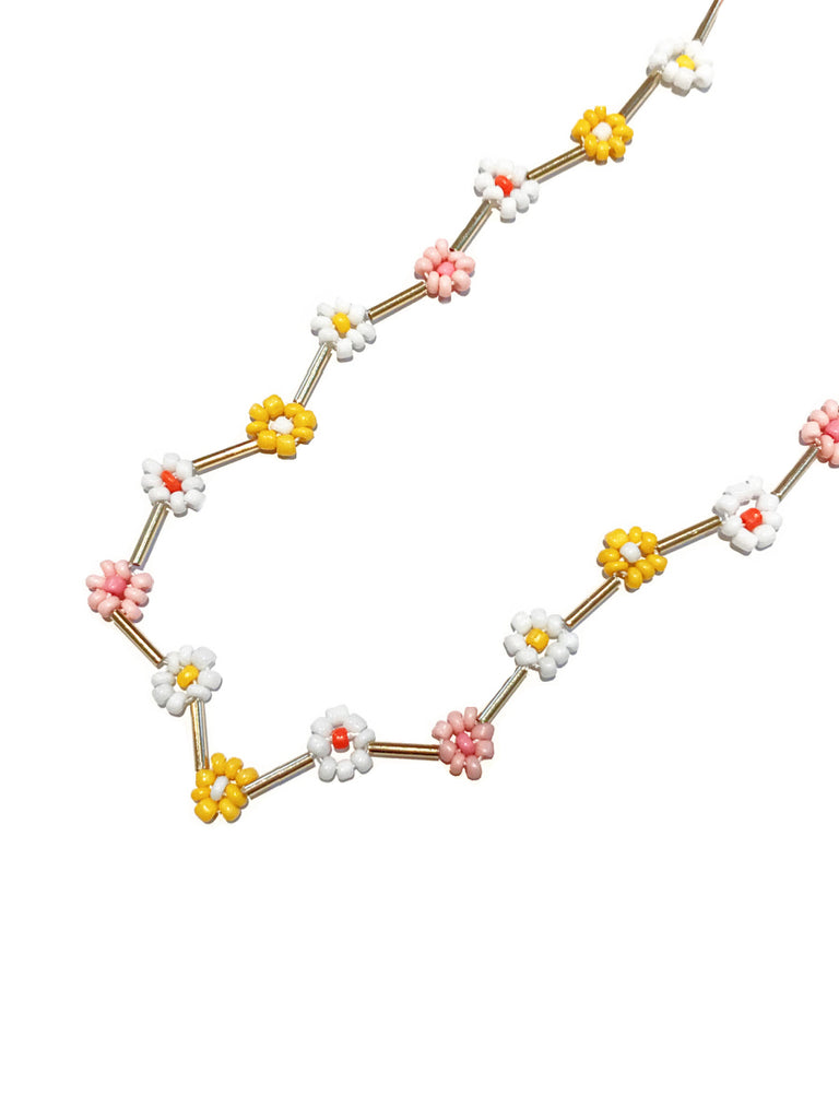 Beaded Daisy Choker Necklace | Pink Seed Bead Flower | Light Years