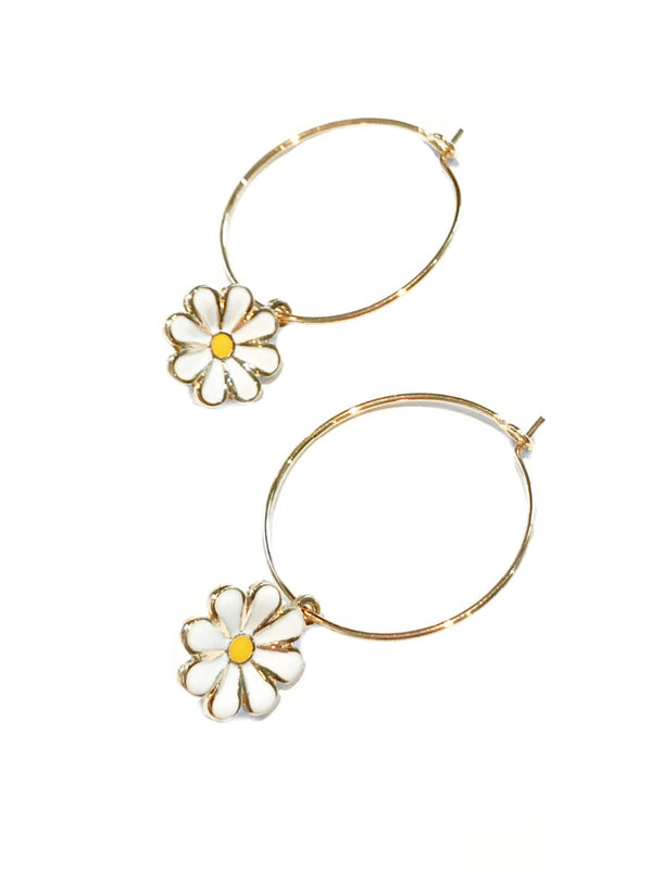 Daisy Charm Hoops | Gold Silver Plated Dangles Earrings | Light Years