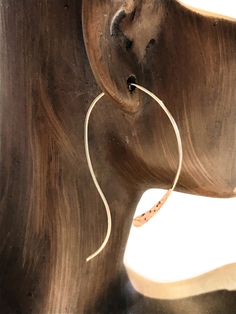 Curved Hammered Ear Threads | Sterling Silver Gold Filled | Light Years