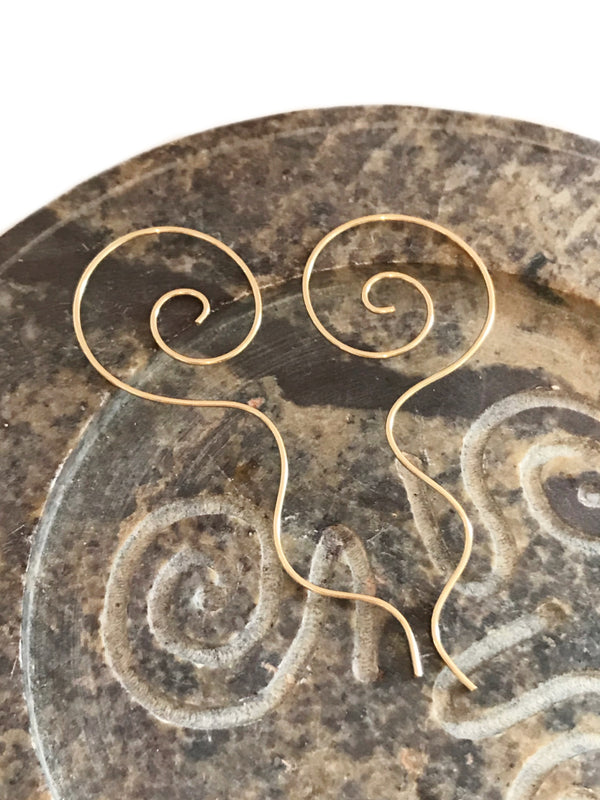 Long Tail Spiral Earrings | Sterling Silver Gold Filled | Light Years