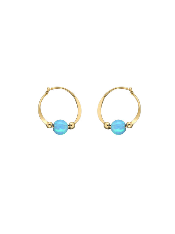 Blue Opal Beaded Hoops | Sterling Silver Gold Filled Earrings | Light Years