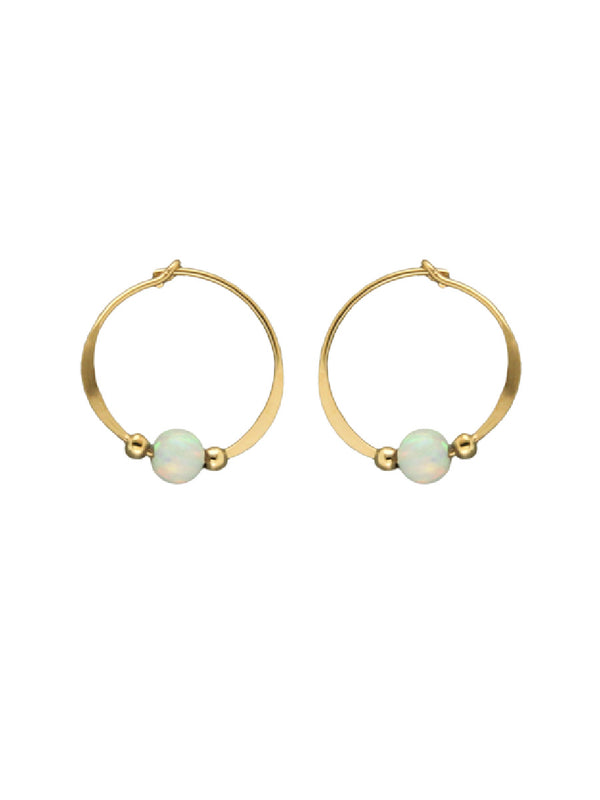 White Opal Hoops | Sterling Silver Gold Filled Earrings | Light Years