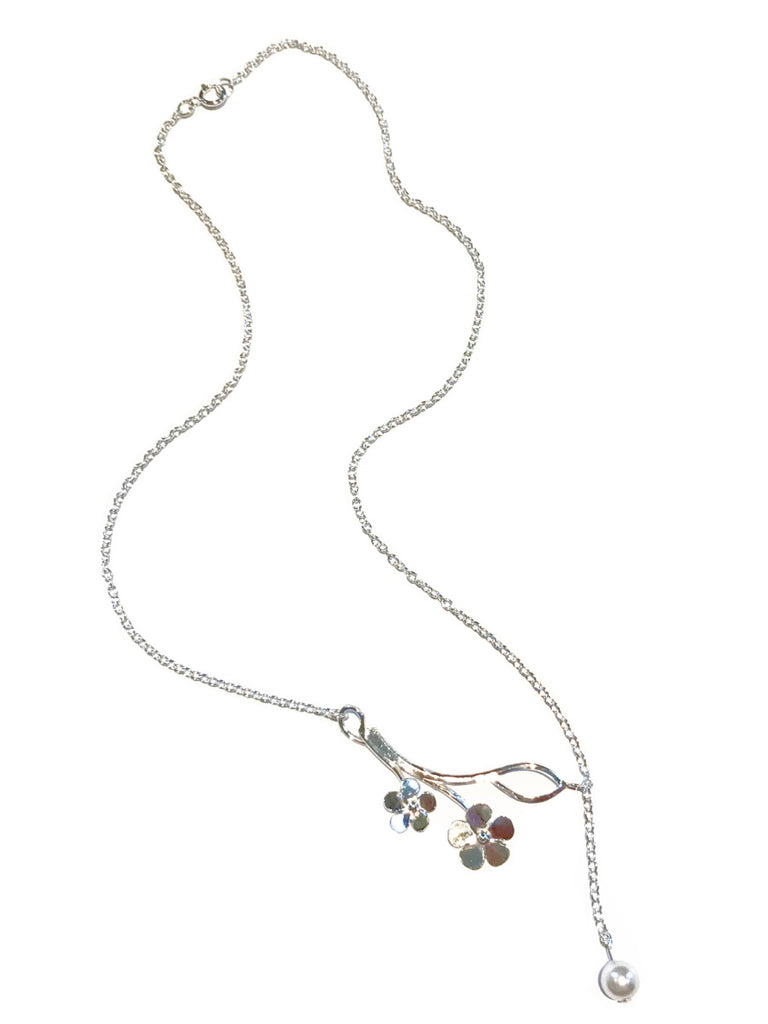 Flowering Branch Pearl Necklace | Sterling Silver Chain | Light Years
