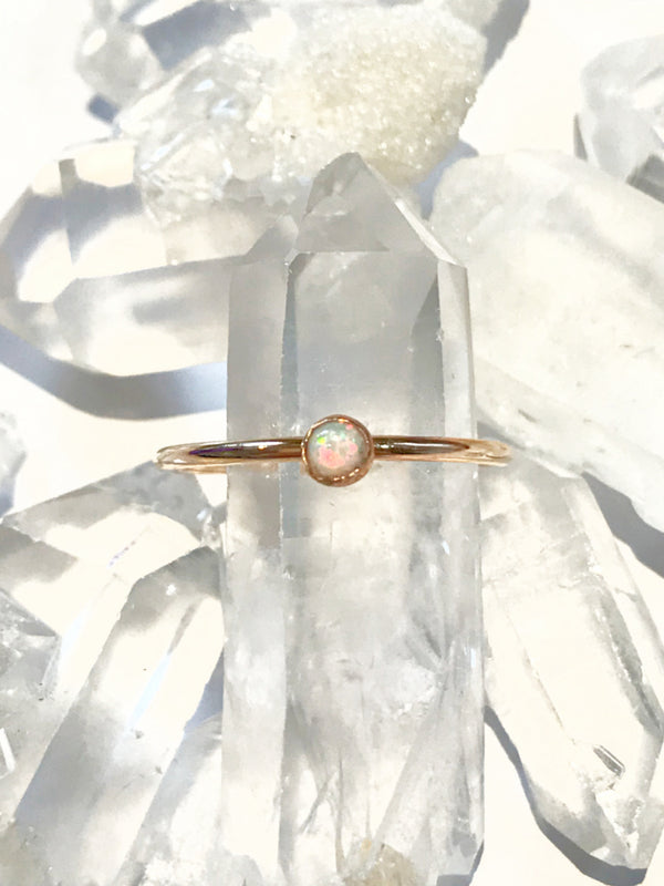 White Opal Ring | Sterling Silver Gold Filled Size 6 7 8 9 | Light Years