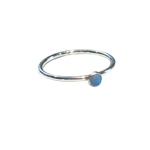 Simple Blue Opal Ring | Sterling Silver Gold Filled 6 7 8 9 | Light Years
